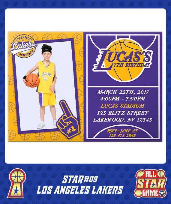 Los Angeles Lakers Invitation Birthday Basketball