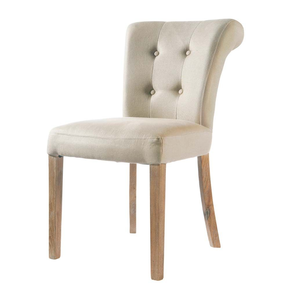 Chaise Lin Capitonnee Boudoir Mm Chair Linen Chair Dining Chairs