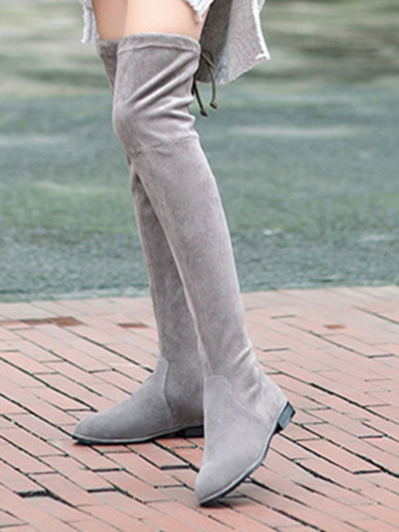 Gray Suedette Pointed Laced Back Over The Knee Flat Boots | Choies