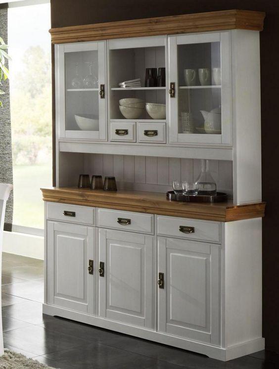 massivholz buffetschrank anrichte mit aufsatz kiefer massiv wei honig haus pinterest. Black Bedroom Furniture Sets. Home Design Ideas