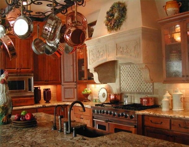 I Like The Pot Rack In This Old French Country Kitchen