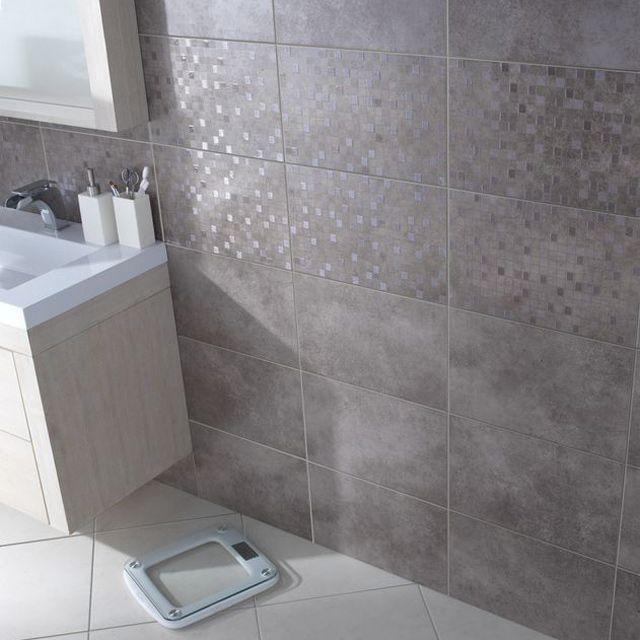 Carrelage Mural Taupe Cemento 25 X 40 Cm Castorama Carrelage