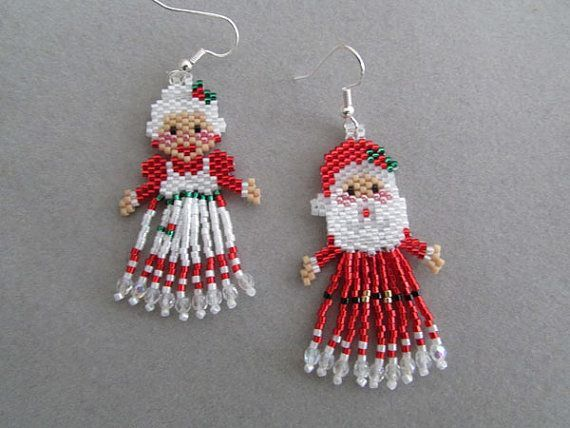 ec9d54460b10c Mr. and Mrs. Santa Claus Earrings by DsBeadedCrochetedEtc on Etsy ...