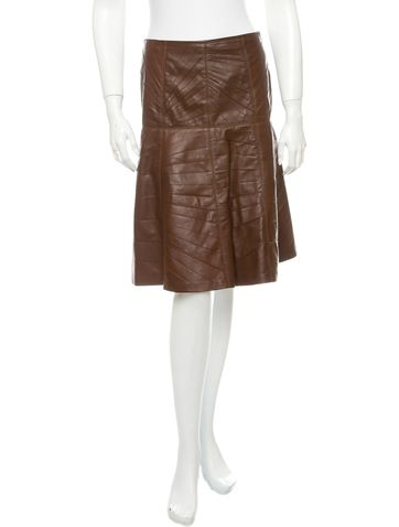 Oscar de la Renta Leather Skirt