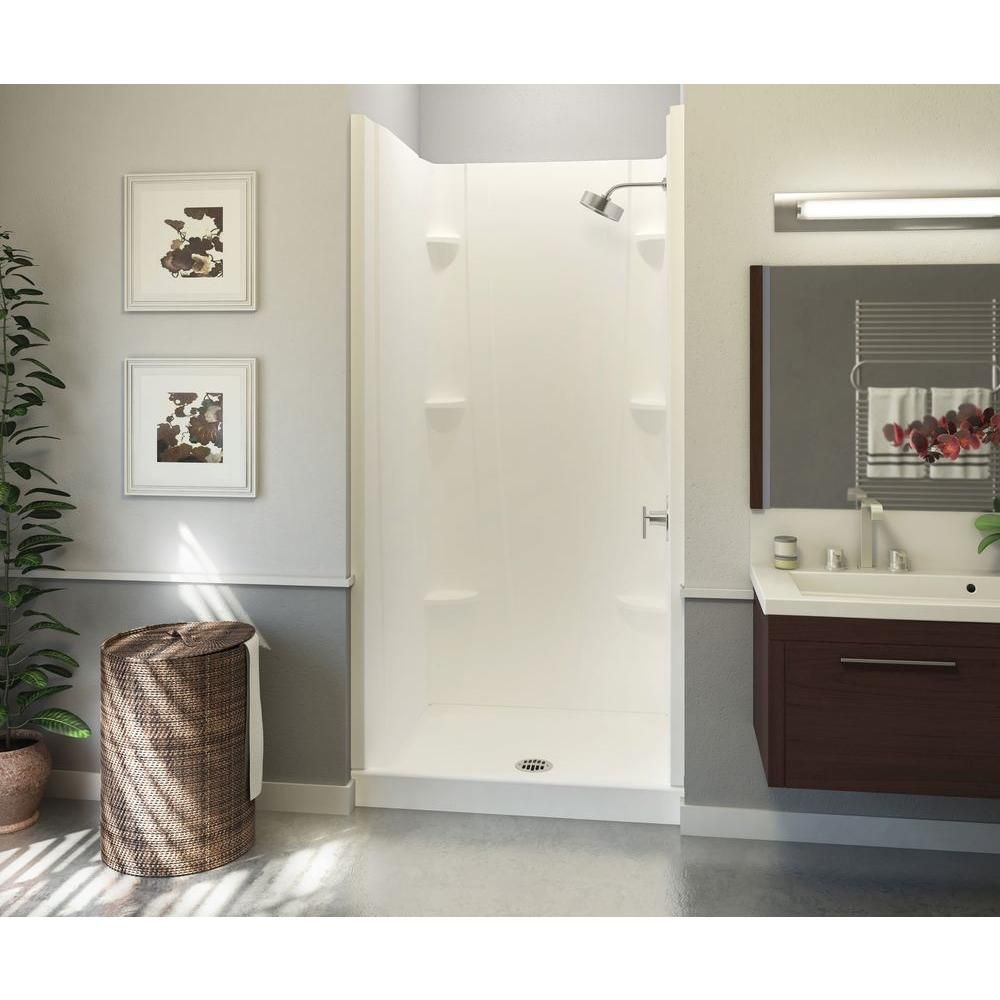 Aquatic A2 32 in. x 32 in. x 76 in. Shower Stall in White | Tiny ...