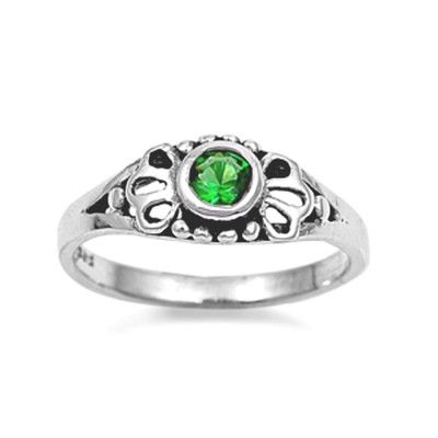 Darling baby ring size 1 green emerald CZ set in sterling silver http://cgi.ebay.com/ws/eBayISAPI.dll?ViewItem=121083301894#ht_1613wt_1163