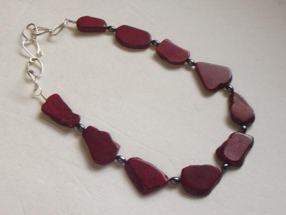 Dark Red Turquoise Slab Beads Chain Necklace by Deanasprairiegems, $58.59