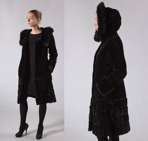 0f9d43d08c2 Black Real Fur Hooded Women Coat Mouton Fur Coat Sheepskin