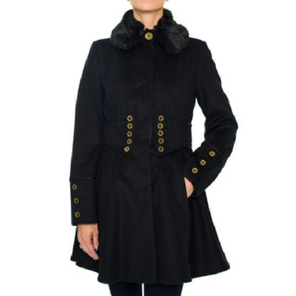 Betsey Johnson Fitted Military Coat.Overstock $273 I wear them one time, and is big for me  Very warm for Southern California weather, so my loss is your gain. Look stylish without sacrificing warmth in this Betsey Johnson Fitted Military Coat. This fitted, military-inspired wool coat features faux leather trimming. Style: Military Material: Wool, polyester Care instruction: Dry clean Betsey Johnson Jackets & Coats