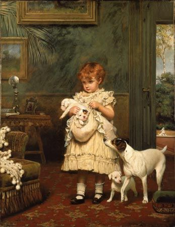 oil paintings of children and dogs   girl with dogs 1893 charles burton barber 1845 1894 oil on canvas 91 5 ...