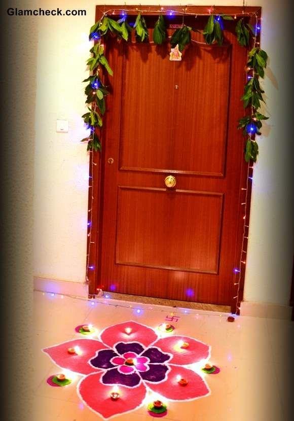 Ordinary Home Decor Ideas For Diwali Part - 5: Diwali Decoration Ideas - Home Entrance