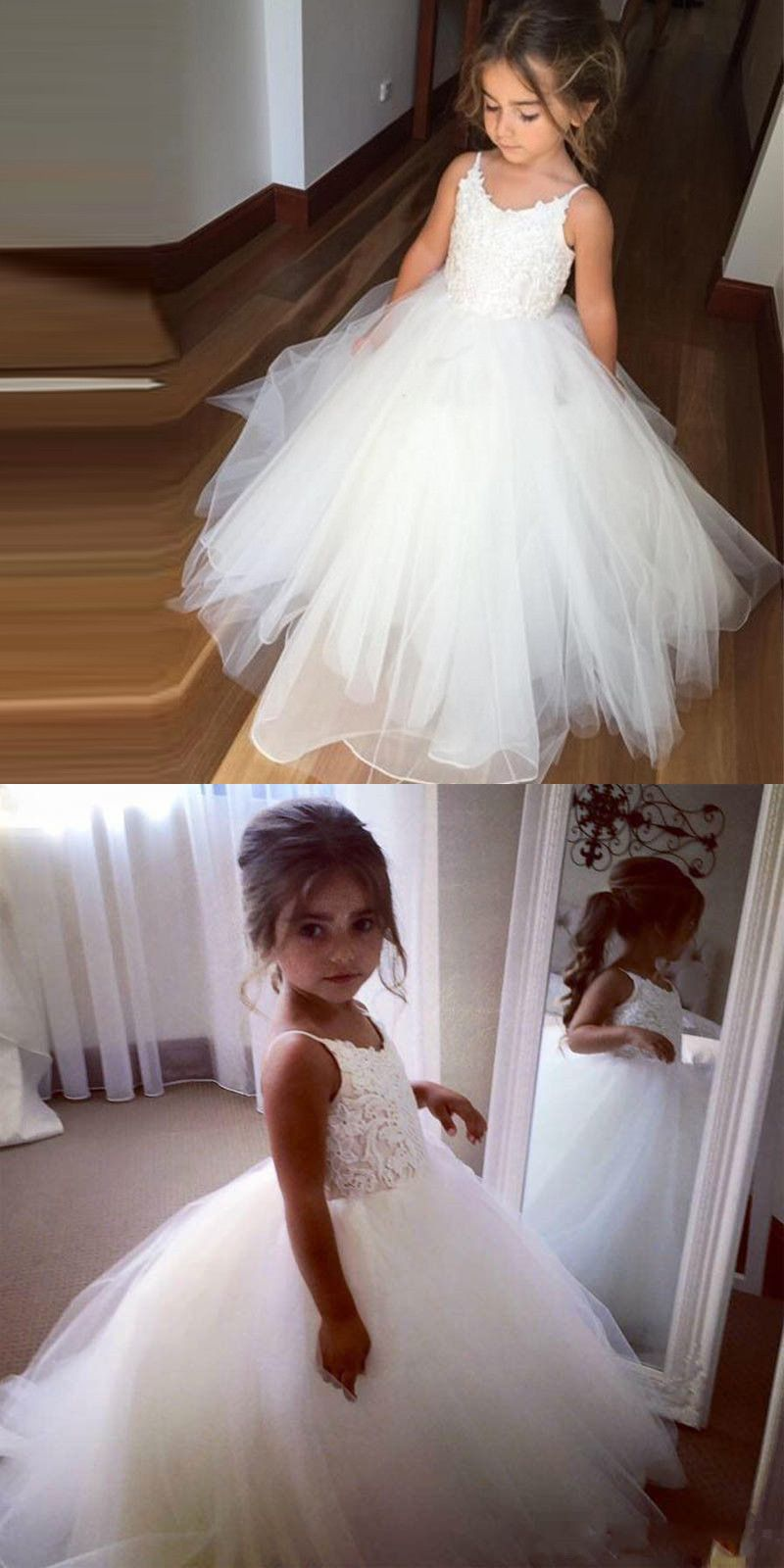 Princess aline straps long white tulle flower girl dress flower