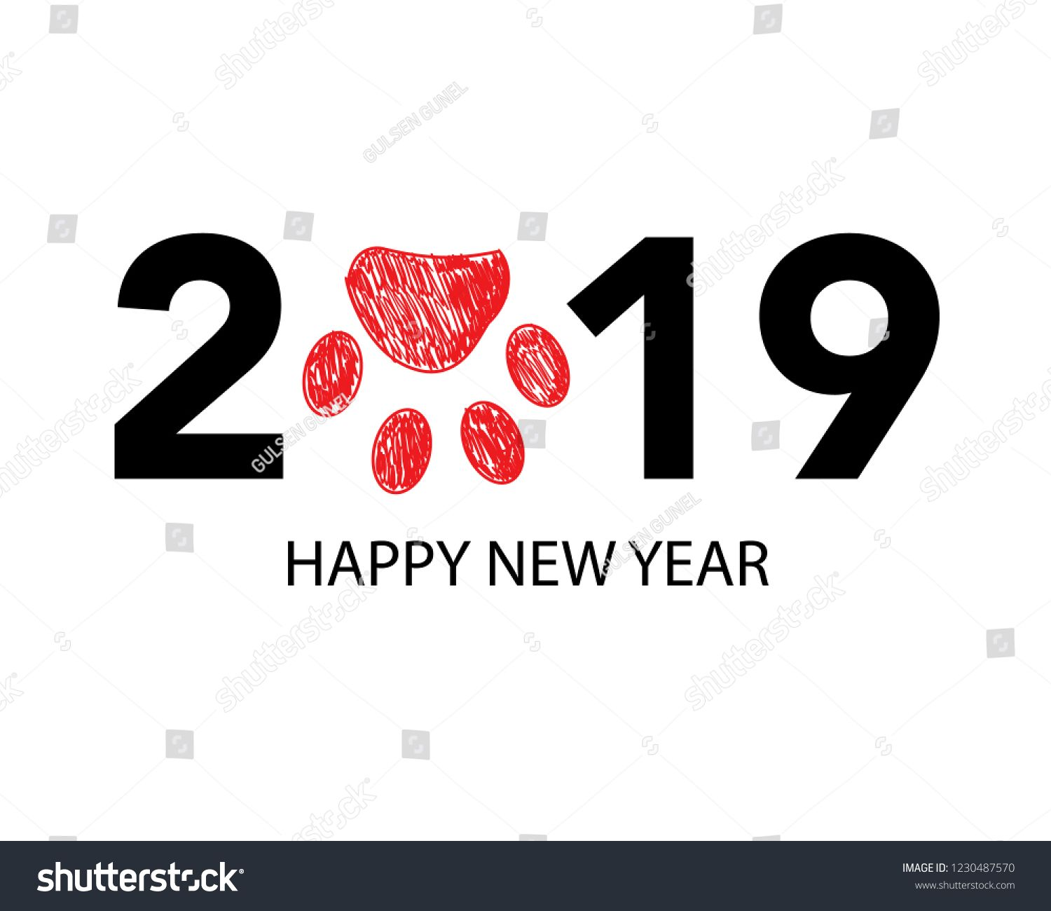 Happy new year greeting card with 2019 text and doodle red