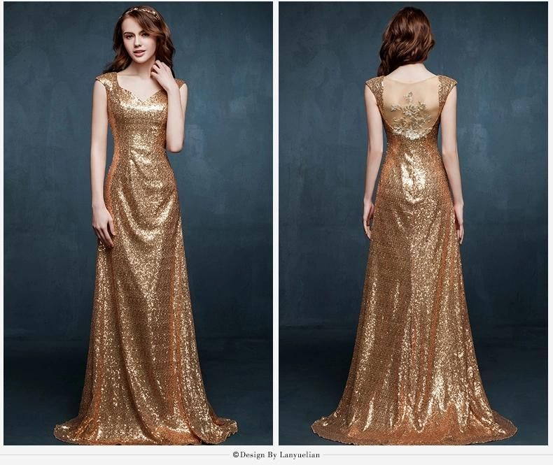 Buy Evening Dresses Online New Shining Sequins Gold Applique Evening