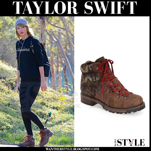 Taylor Swift In Brown Lace Up Hiking Boots Celebrity