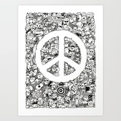 Peace Doodle Art Print by Kerby Rosanes - $17.68 Totally dig the ...