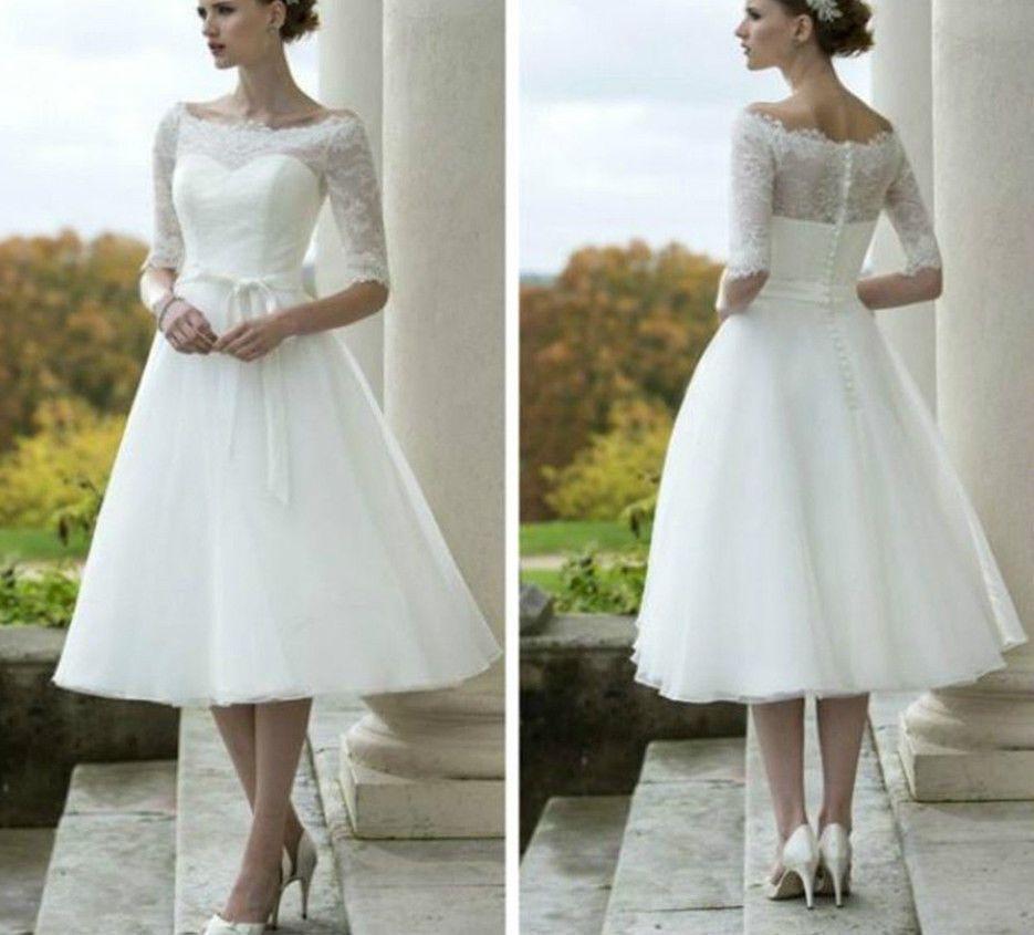 Vintage whiteivory short wedding dress tea length lace bridal gown