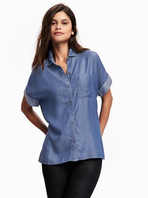 Old navy relaxed cuffed sleeve tencel shirt for women for Denim shirt women old navy