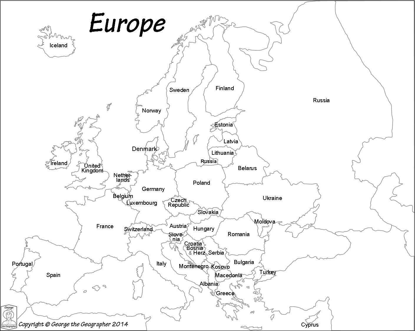 Intelligible Simple Europe Map Black And White Names Of