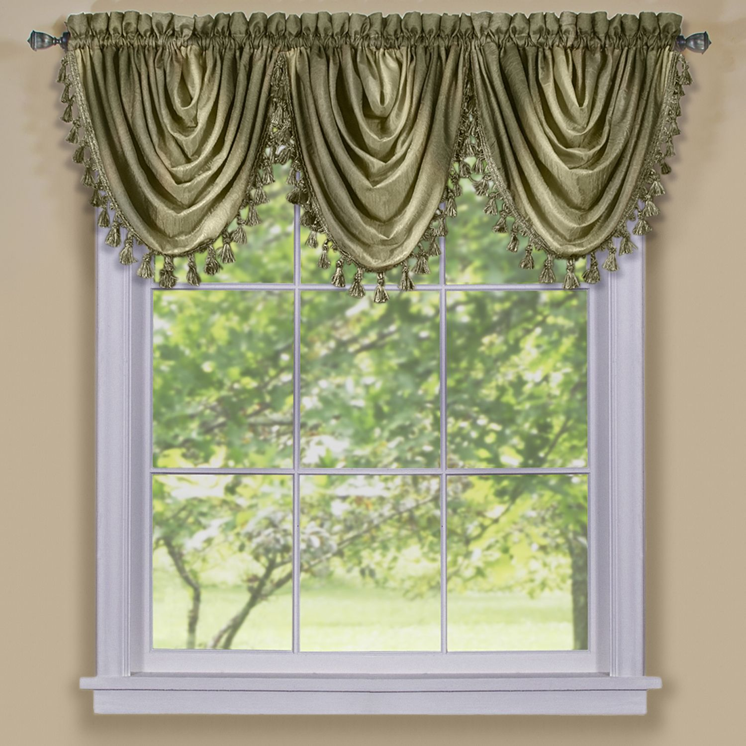 Achim ombre window curtain waterfall blue valance x sage