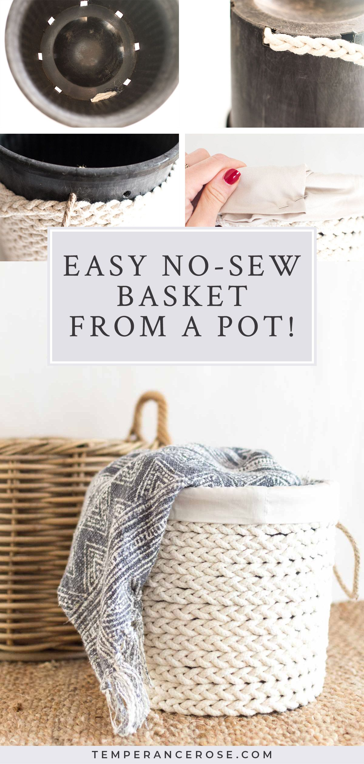 Simple no-sew braided basket from an old pot