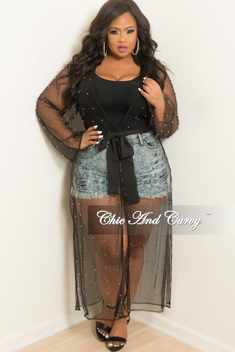 f0bfece3e5e6 Plus Size Mesh Beaded Long Duster with Attached Tie in Black – Chic And  Curvy