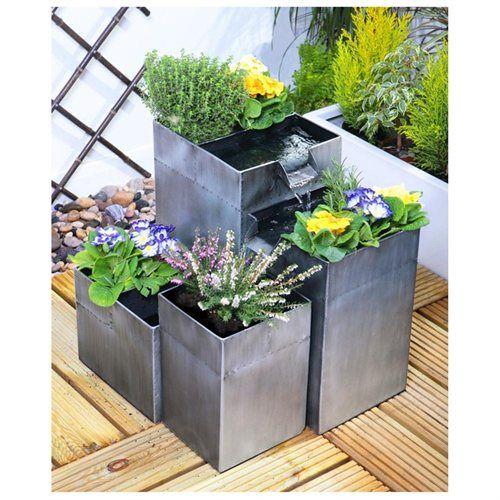 Daintree Planter Solar Cascade Water Fountain Silver Cascade