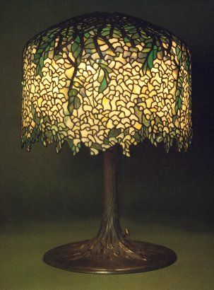 Tiffany studios white wisteria leaded glass and gilt bronze table tiffany studios white wisteria leaded glass and gilt bronze table lamp mozeypictures Image collections