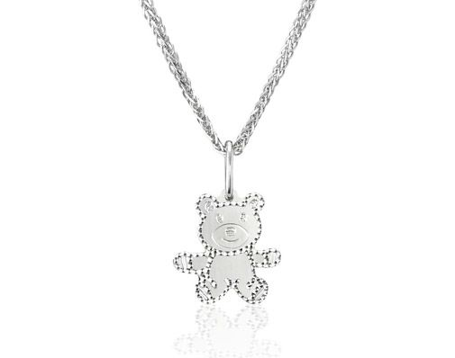 Poh Heng Gift Ideas - A delightful teddy bear in 18K white gold has glinting edges and is a neat gift for someone special. Chain sold separately.
