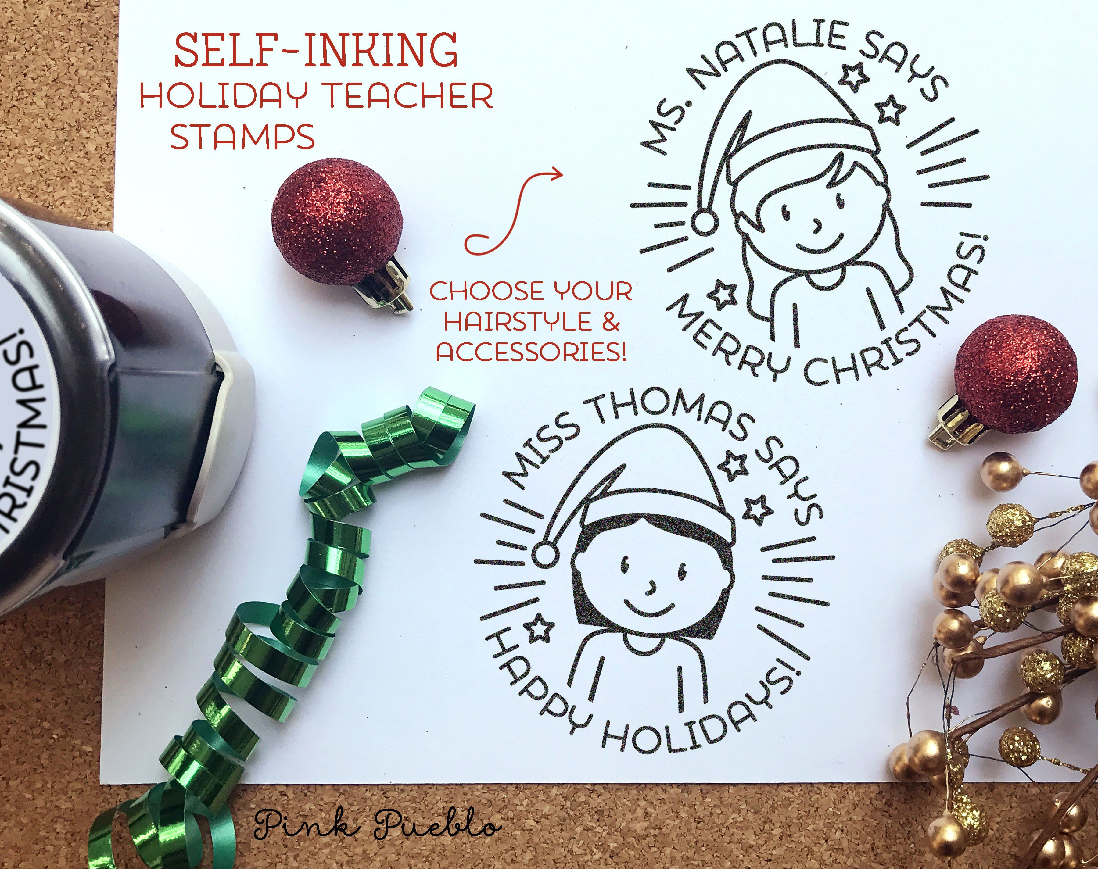 Self Inking Christmas Teacher Stamp, Teacher Christmas Gift, Merry ...
