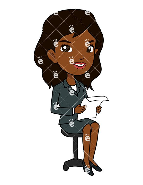 Black Businesswoman Sitting In An Office Chair Cartoon Clipart Friendlystock Cartoon Clip Art Business Women Cartoon