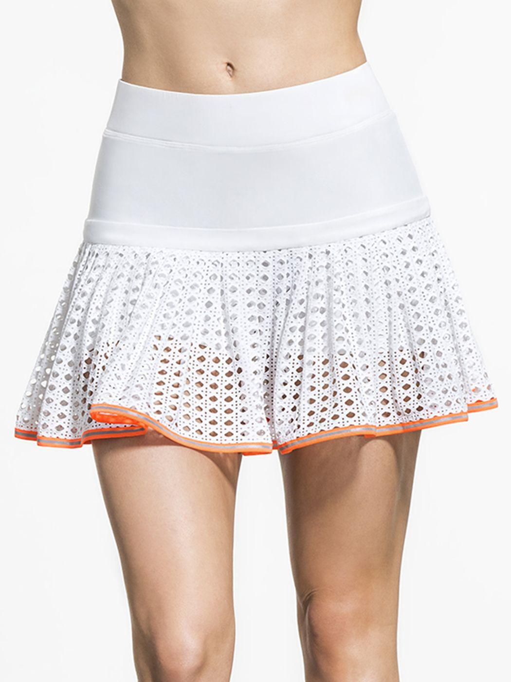 Pointelle Mesh Lace Tennis Skort In White Lace Orange By L Etoile From Carbon38 Tennis Dress Tennis Skort Tennis Clothes [ 1400 x 1050 Pixel ]