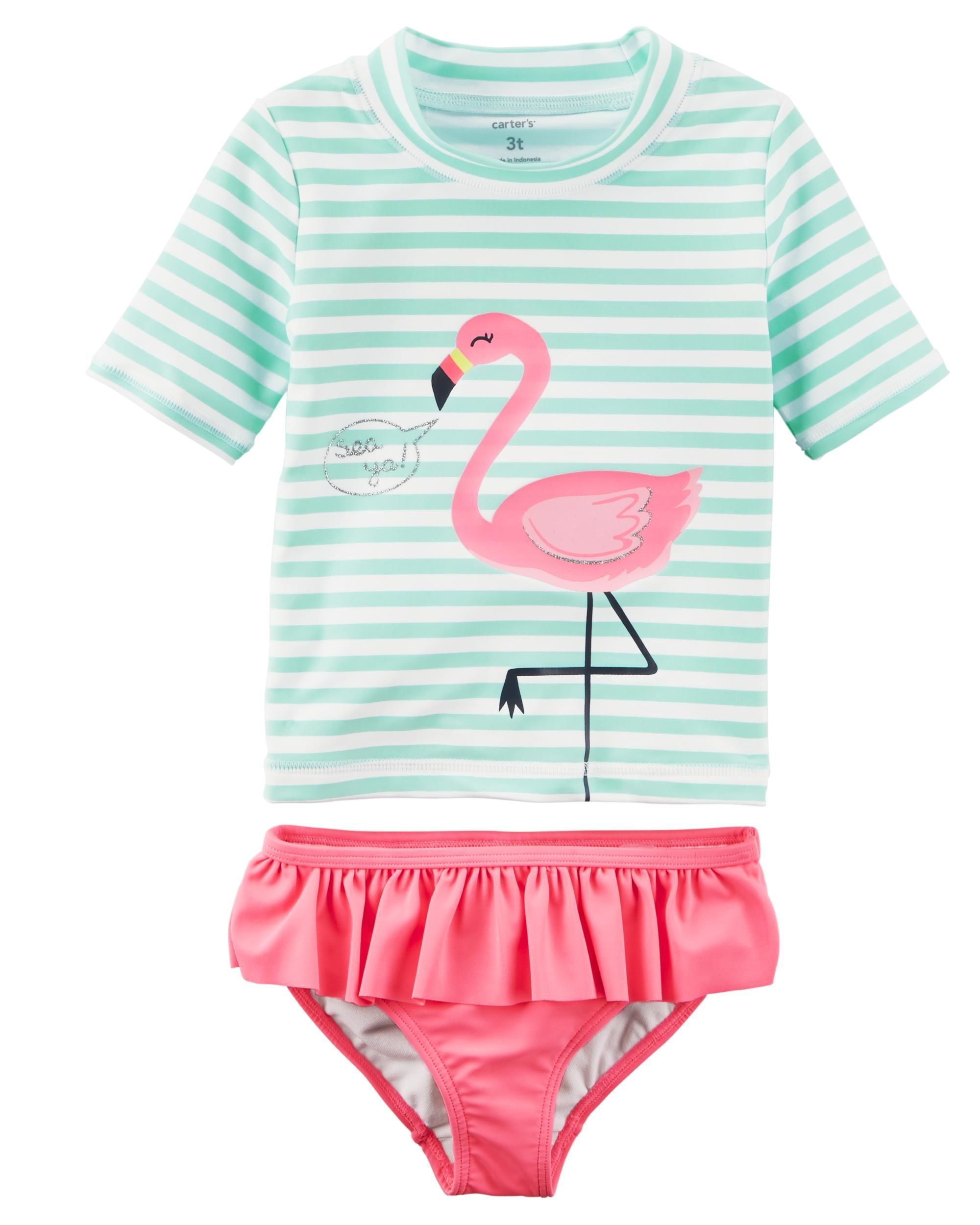 Carter/'s Girls 2 Pc Flamingo Rash Guard Swim Set New