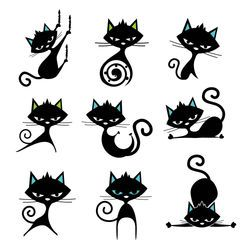 funny cat pose set with images