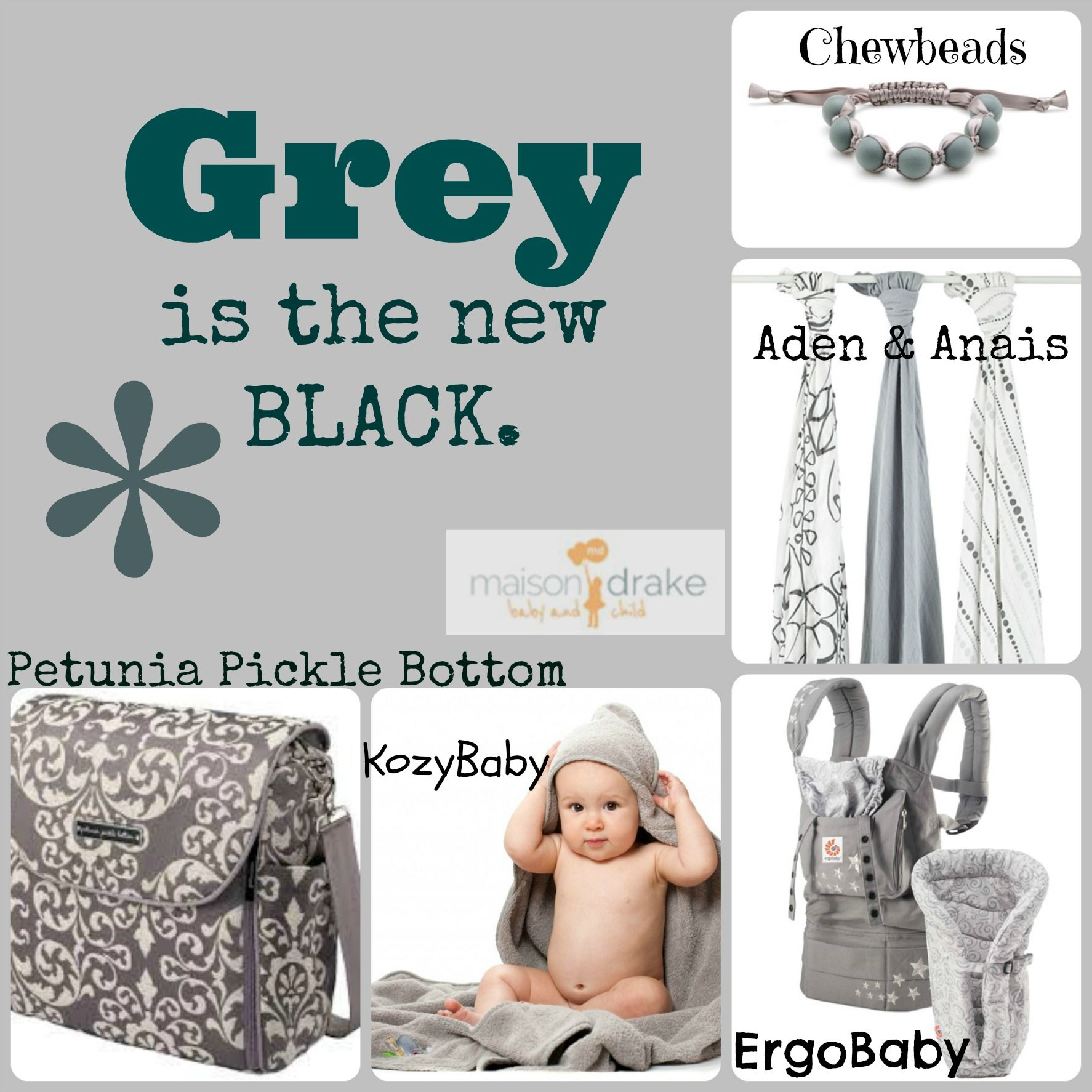 Grey is the most gender neutral, flattering color. ANY color can be added to it for the right POP! Calming, soothing grey is just perfect for babies! www.maisondrake.com - shop grey.