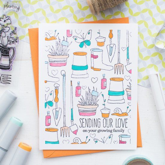 (Video tutorial included) Learn how to create a baby shower card using stamps and markers.