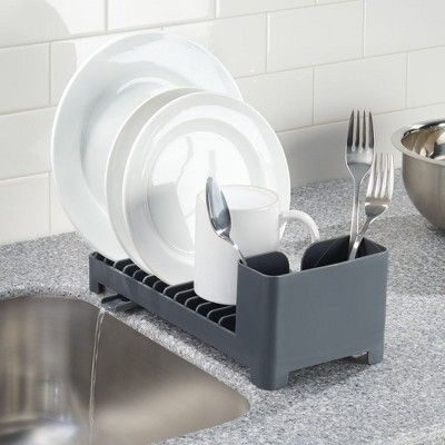 mDesign Compact Dish Drying Rack with Swivel Spout & Silicone Mat Set - Gray #dishracks