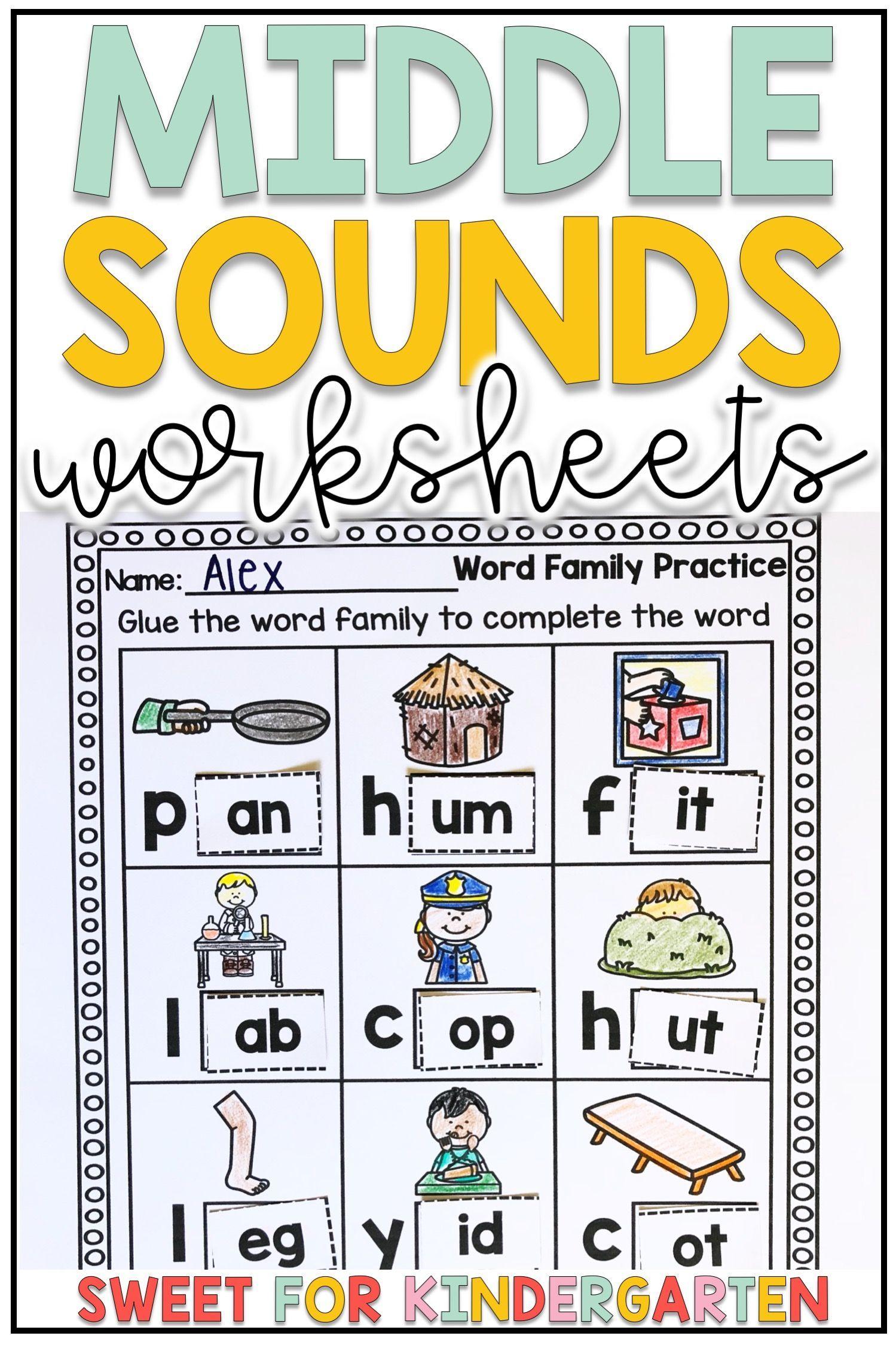 Short Vowel Middle Sounds Worksheets Middle Sounds Worksheet Word Family Practice Kindergarten Phonics Curriculum [ 2249 x 1499 Pixel ]