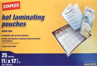Staples Menu Size Thermal Laminating Pouches 3 Mil 25 Pack At Staples Menu Thermal Packing
