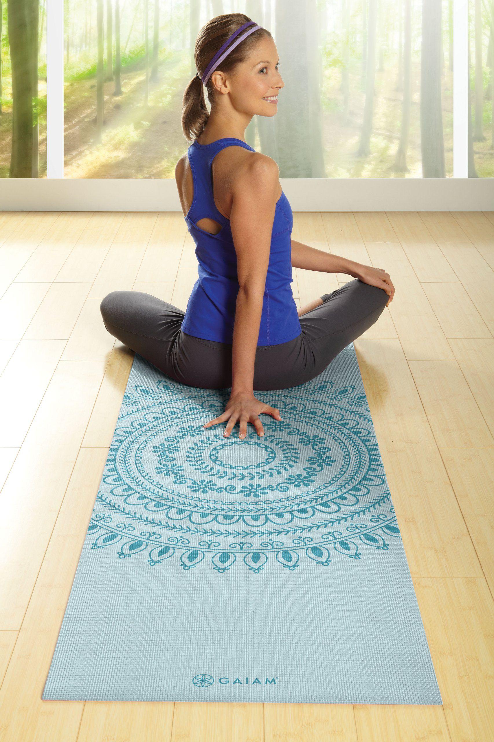 Amazon Com Gaiam Premium Print Yoga Mat 5mm Citron Sundial Sports Outdoors Gaiam Yoga Gaiam Yoga Mat Types Of Yoga