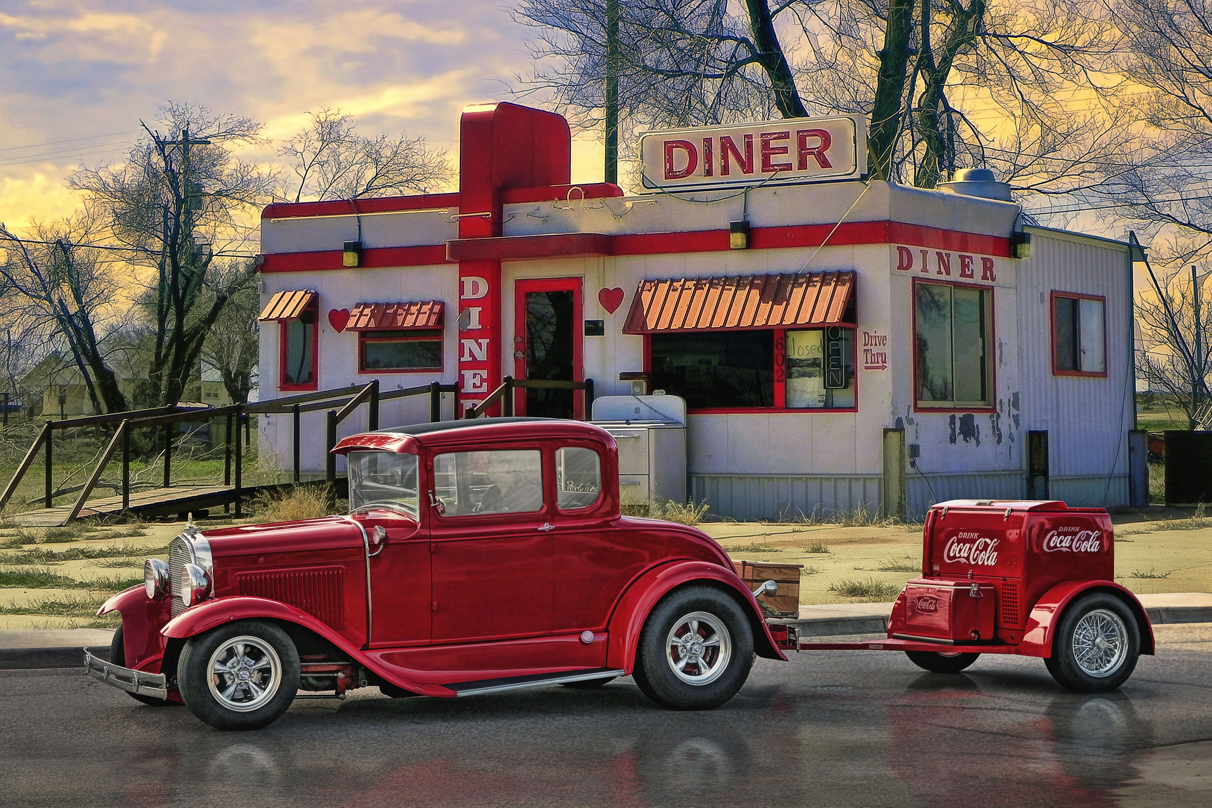Diners and dives hot rod art by rat rod studios www for Diner artwork