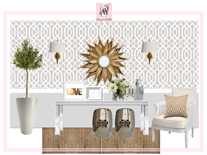 Sunburst Mirror, Silver Garden Stools And Trellis Paper! Home Styling:  Style Advice