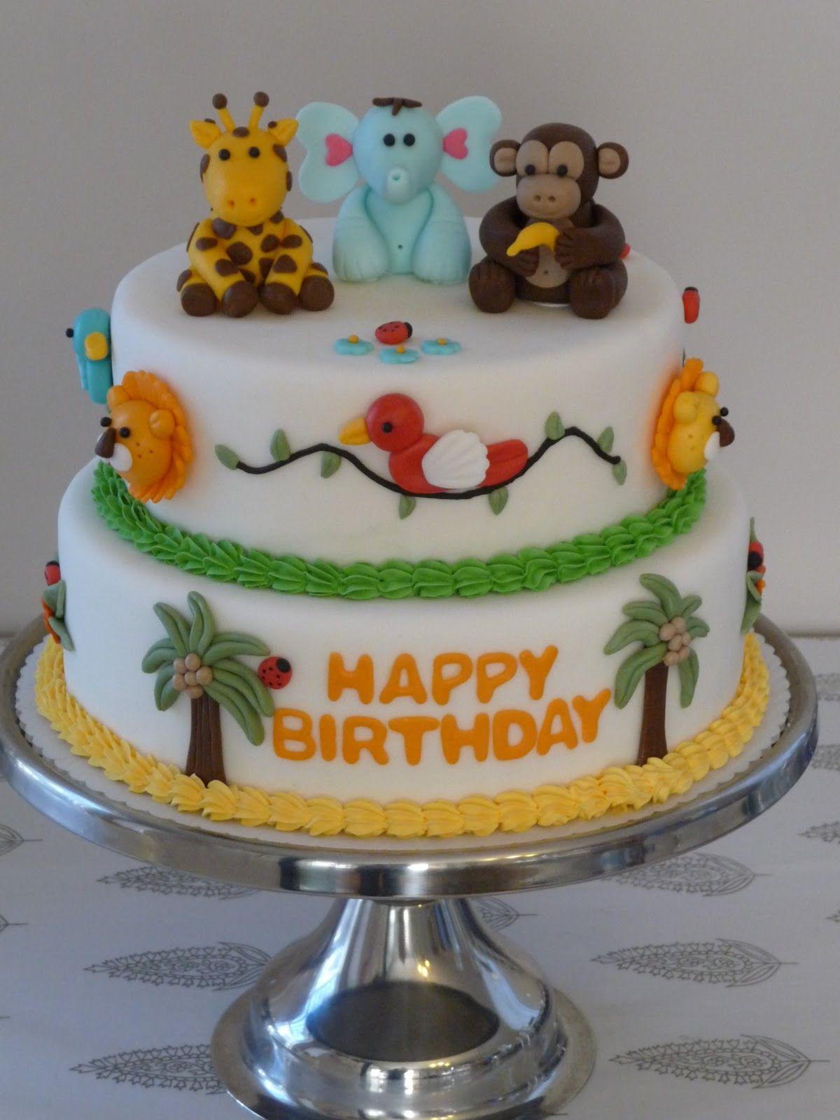 """2 tier Fondant """"Jungle Animal"""" Cake   Animal cakes, Cake ..."""