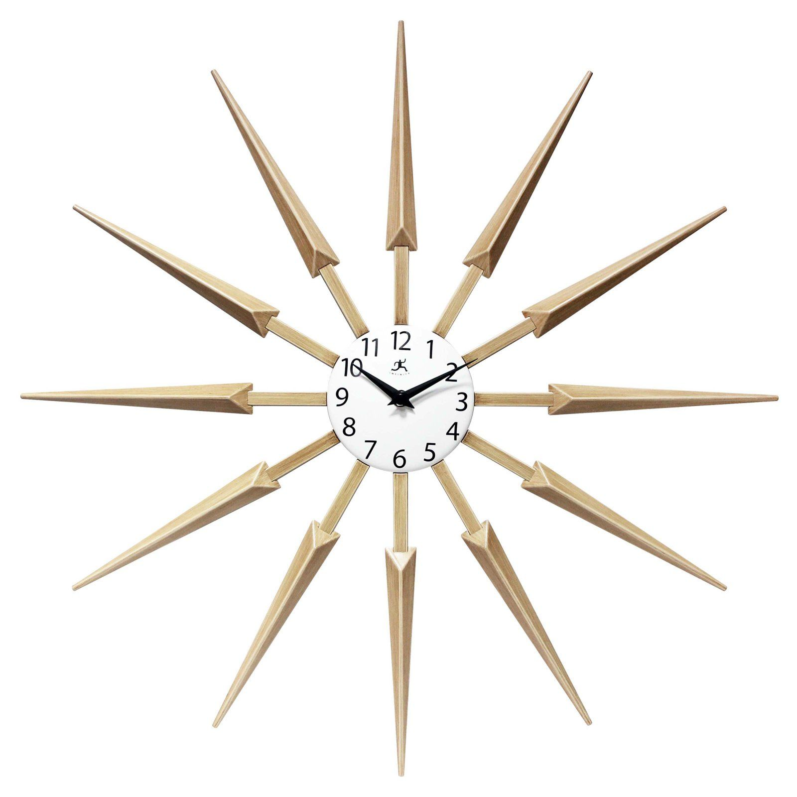 Infinity Instruments Starburst Silhouette Wall Clock Tan Modern Clock Clock 24 Inch Wall Clock