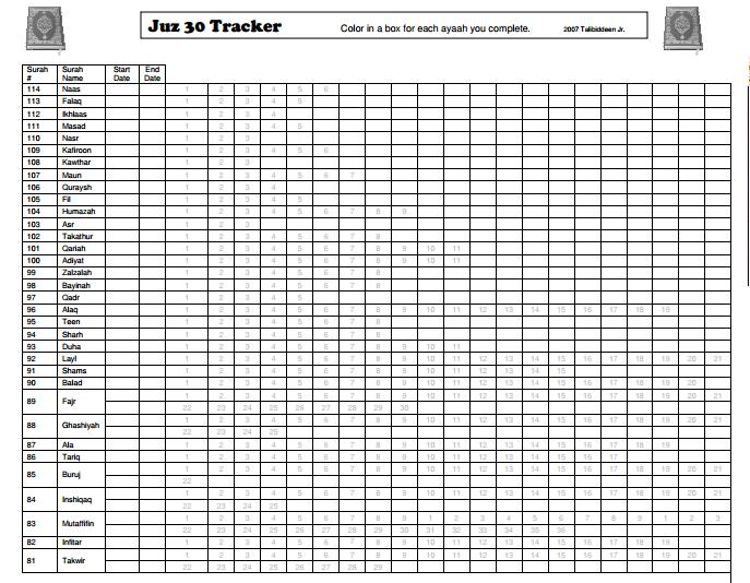 TJ Homeschooling: Juz Amma Progress Chart | MNO | Chart