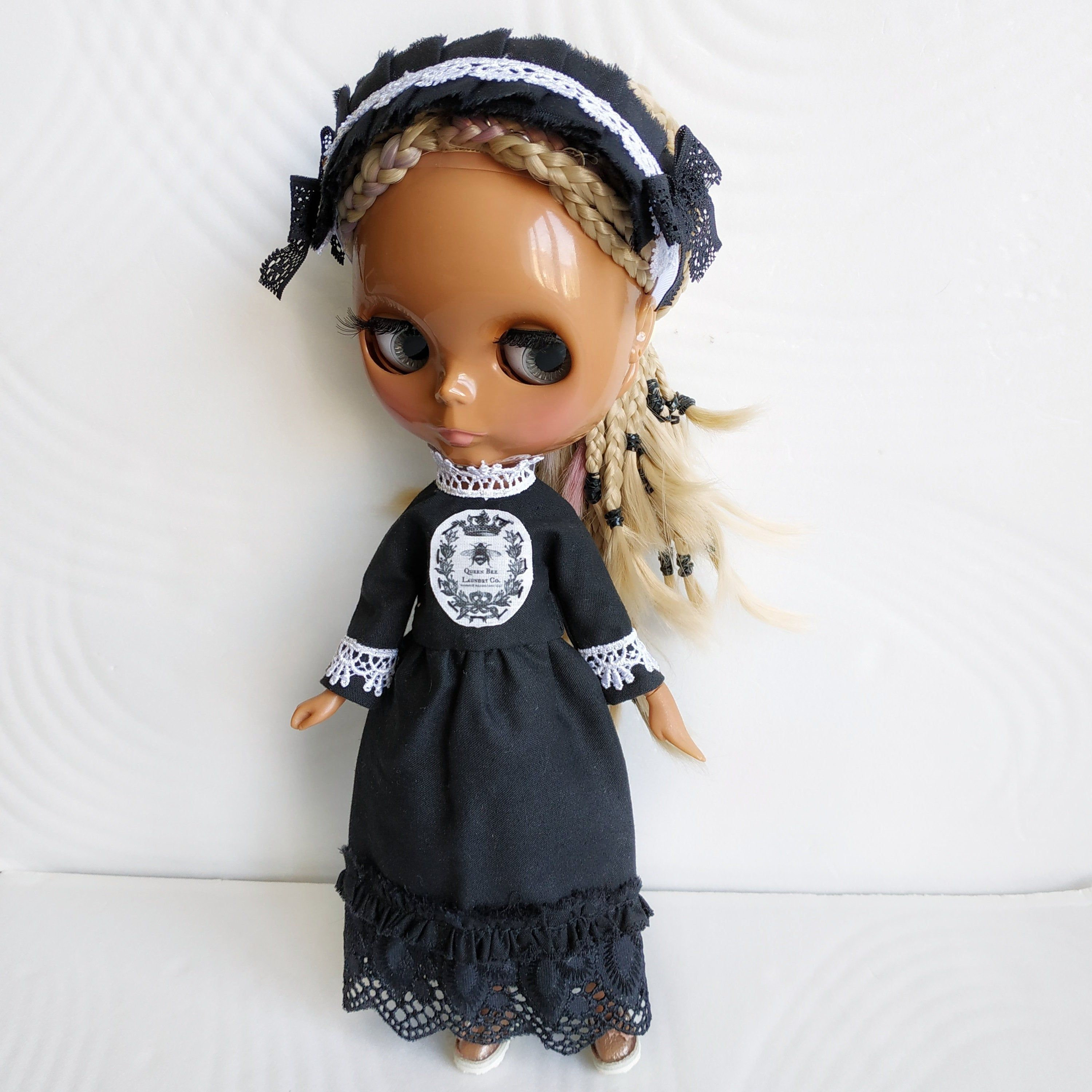 Blythe black long victorian dress and lace headband/ Azone doll gothicoutfit set