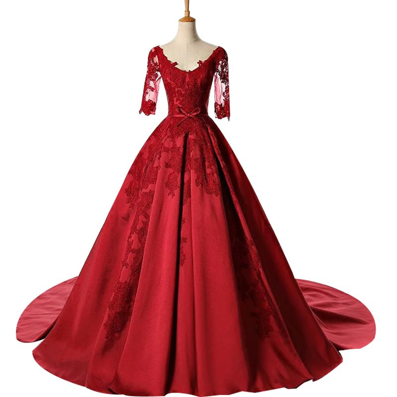 6b3655f10f1d9 New Long Evening Dress Banquet Wine Red Lace Appliques Luxury Satin Court  Train Half Sleeves Party Prom Dress Ball Gown Bride Wedding Dresses