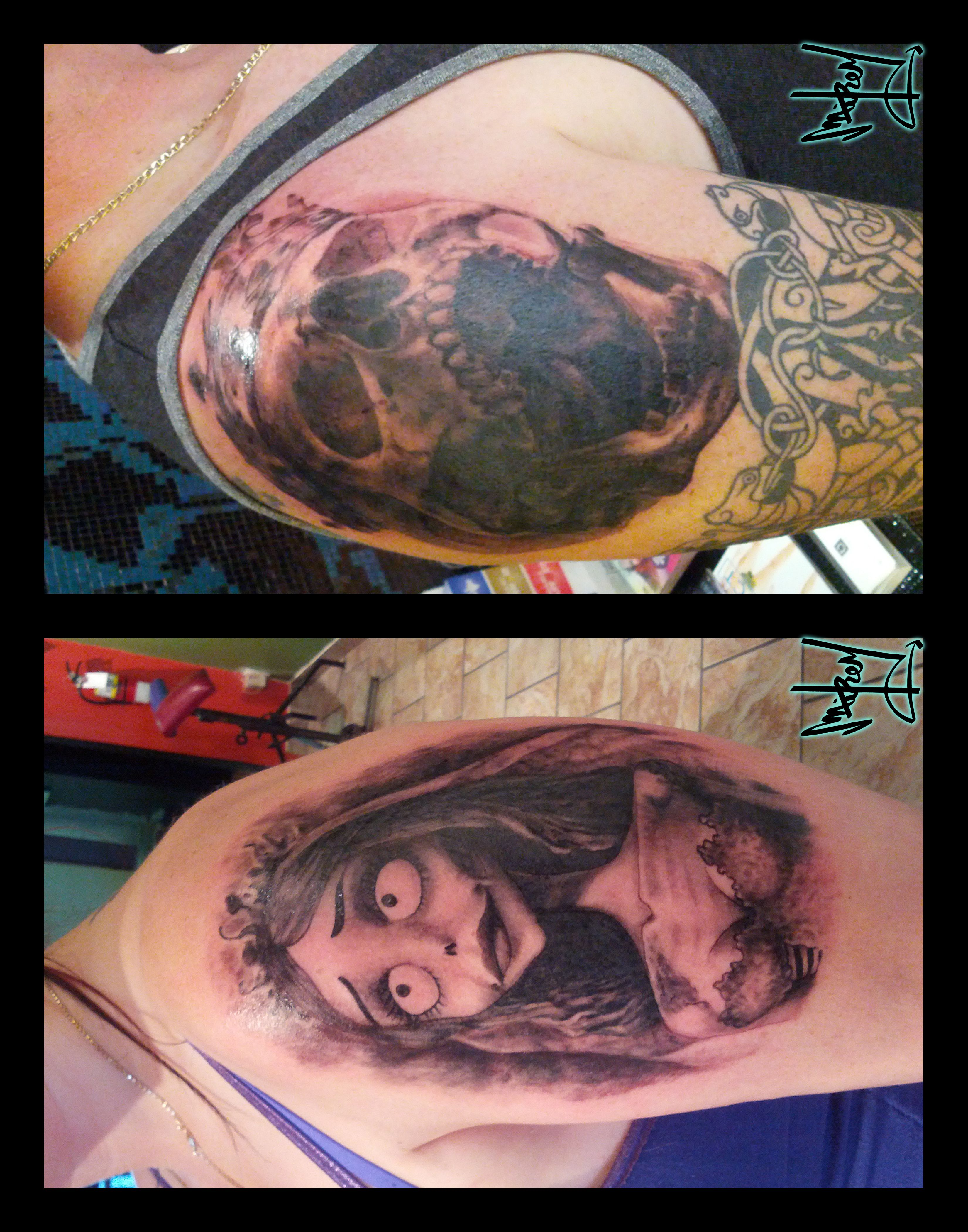 #CorpseBride and #skull #shoulder #tattoos by Mikey.
