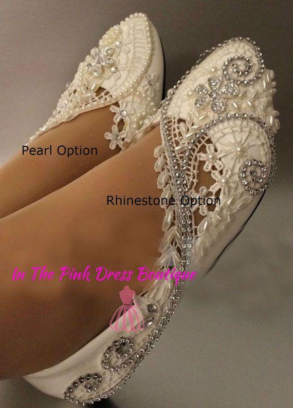 7e793442ed49 Wedding shoes. Flat ivory or white wedding by InThePinkDressBoutiq ...