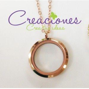 Locket de acero inoxidable oro rosado - Lockets de acero inoxidable - floting charms- Creaciones www.creaciones.mx, info@creaciones.mx, (662)2105599